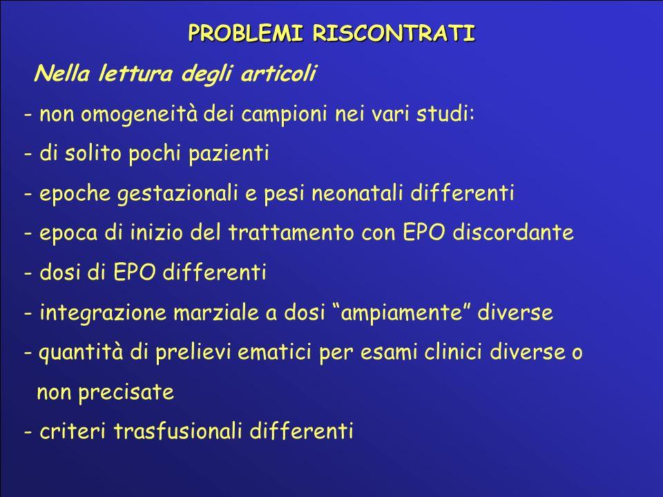 PROBLEMI RISCONTRATI Nella lettura degli articoli - non omogeneità dei campioni nei vari studi: - di solito pochi pazienti - epoche gestazionali e pes