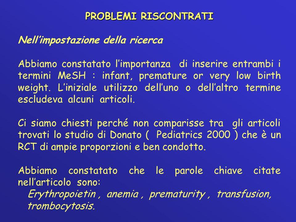 PROBLEMI RISCONTRATI Nellimpostazione della ricerca Abbiamo constatato limportanza di inserire entrambi i termini MeSH : infant, premature or very low