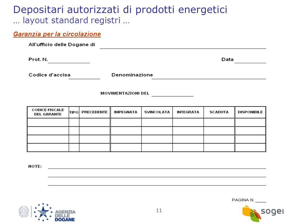 11 Depositari autorizzati di prodotti energetici … layout standard registri … Garanzia per la circolazione