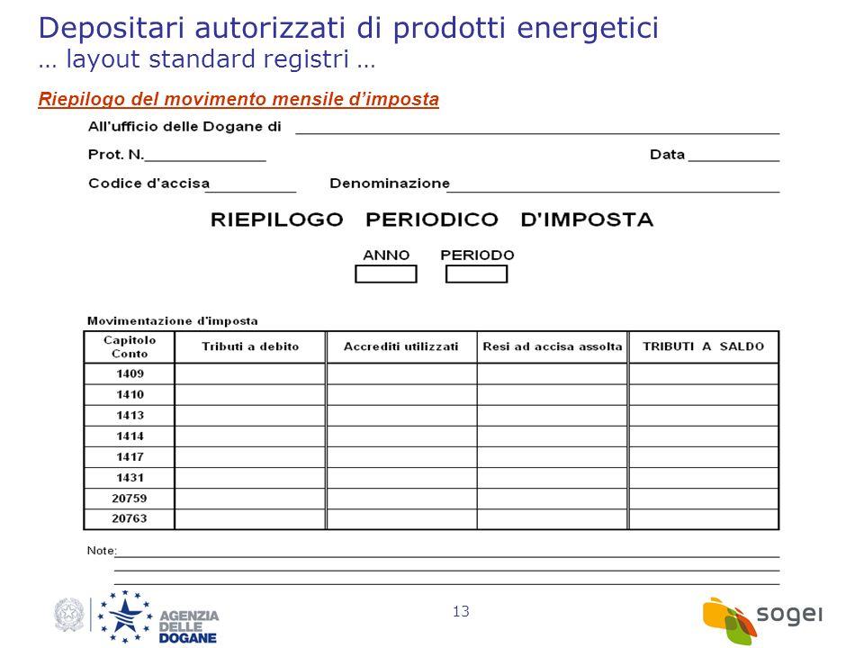 13 Depositari autorizzati di prodotti energetici … layout standard registri … Riepilogo del movimento mensile dimposta