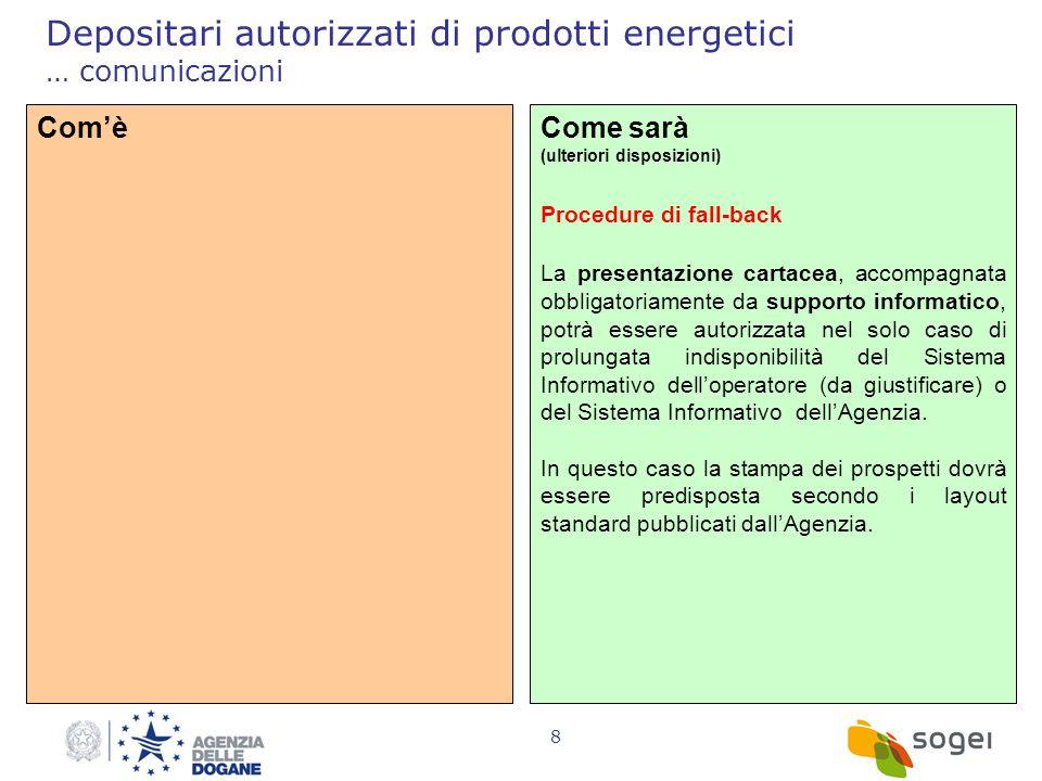 8 Depositari autorizzati di prodotti energetici … comunicazioni ComèCome sarà (ulteriori disposizioni) Procedure di fall-back La presentazione cartace