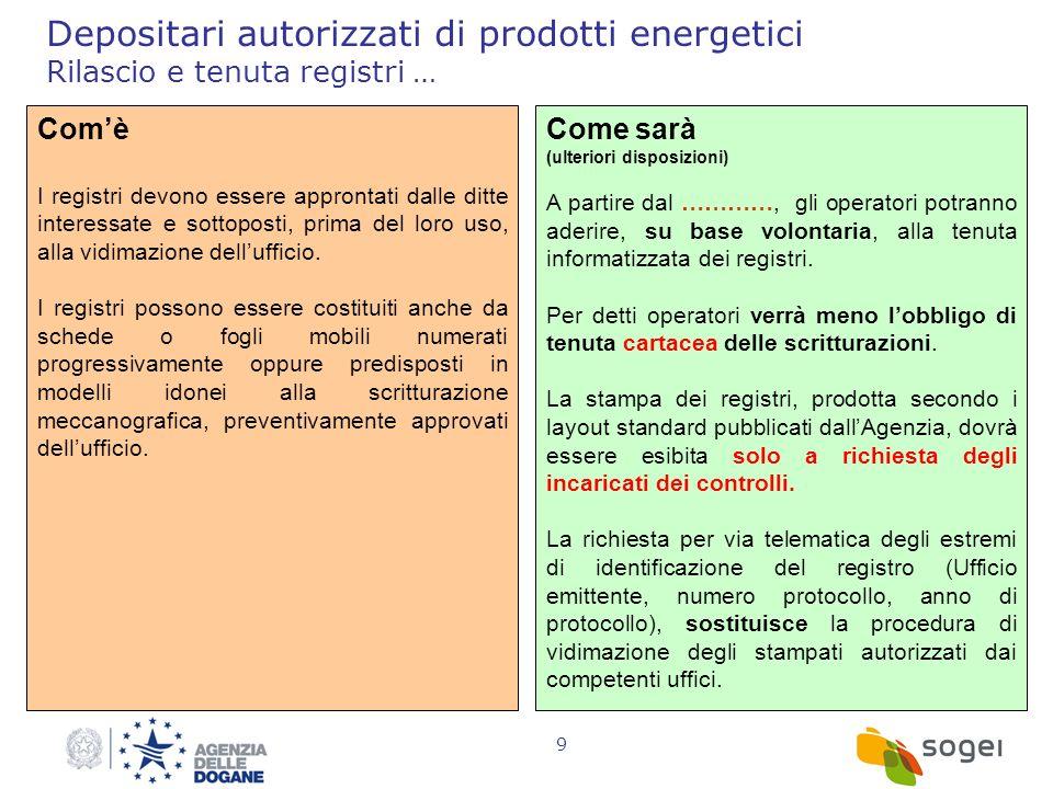 9 Depositari autorizzati di prodotti energetici Rilascio e tenuta registri … Comè I registri devono essere approntati dalle ditte interessate e sottop