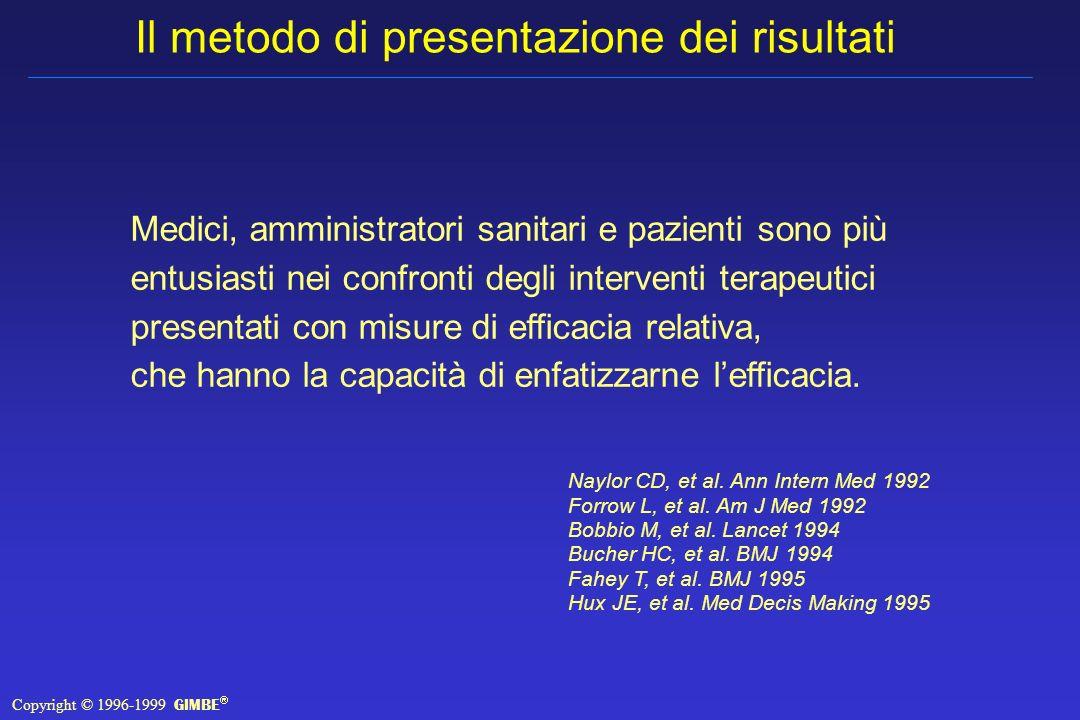 Il metodo di presentazione dei risultati Medici, amministratori sanitari e pazienti sono più entusiasti nei confronti degli interventi terapeutici presentati con misure di efficacia relativa, che hanno la capacità di enfatizzarne lefficacia.