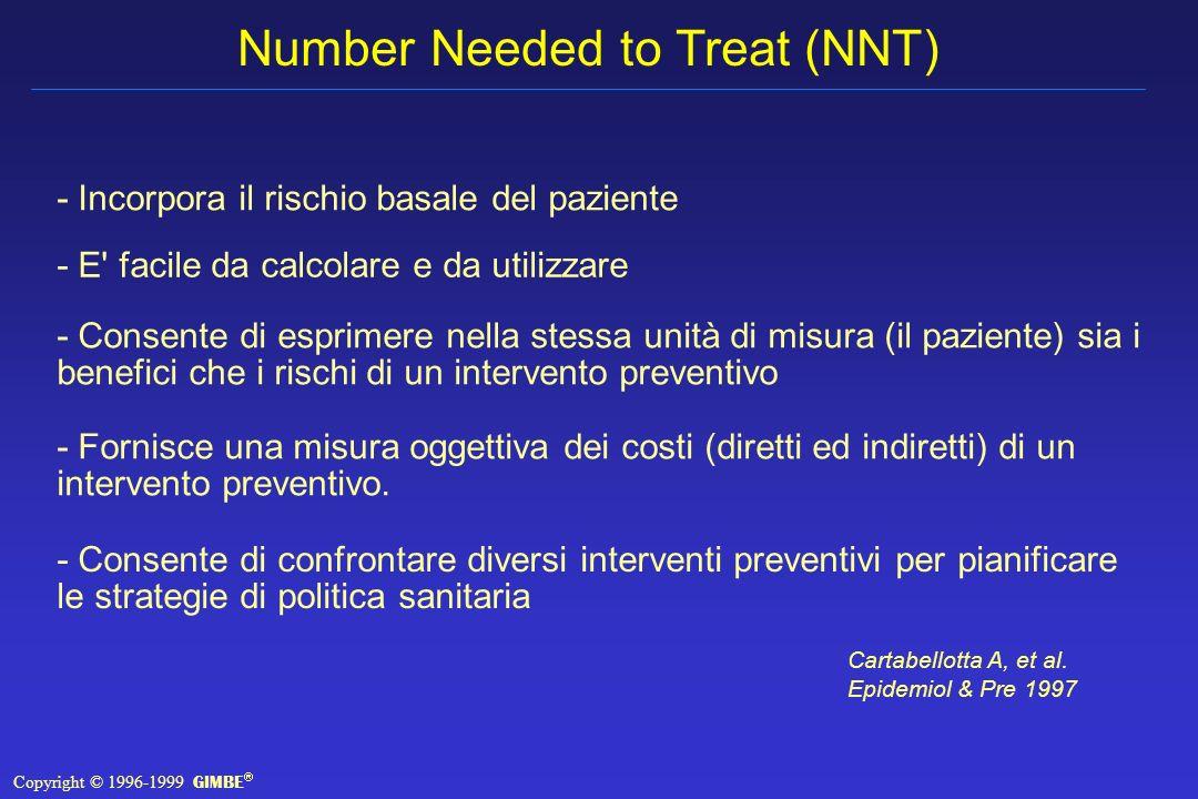 Number Needed to Treat (NNT) - Incorpora il rischio basale del paziente - Fornisce una misura oggettiva dei costi (diretti ed indiretti) di un intervento preventivo.