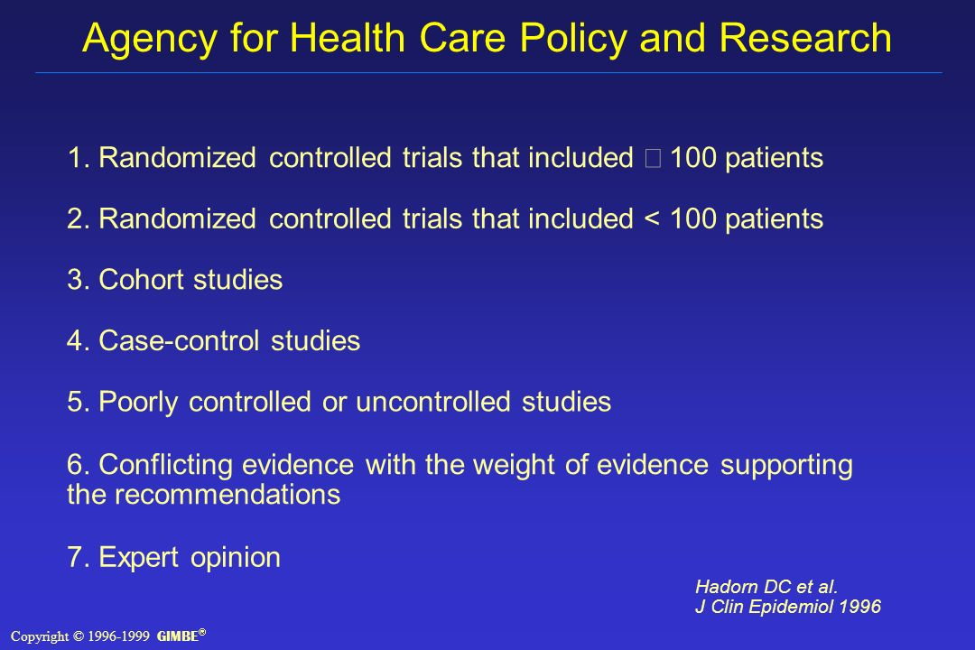 Agency for Health Care Policy and Research Hadorn DC et al.