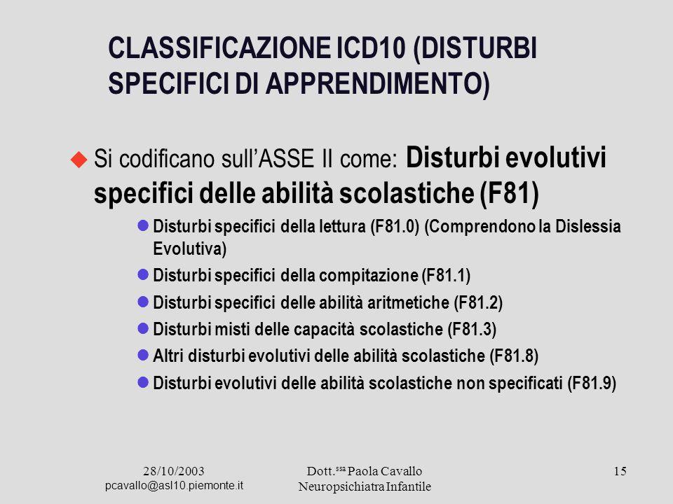28/10/2003 pcavallo@asl10.piemonte.it Dott. ssa Paola Cavallo Neuropsichiatra Infantile 15 CLASSIFICAZIONE ICD10 (DISTURBI SPECIFICI DI APPRENDIMENTO)