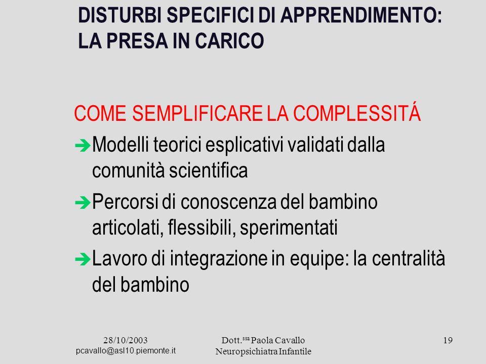 28/10/2003 pcavallo@asl10.piemonte.it Dott. ssa Paola Cavallo Neuropsichiatra Infantile 19 DISTURBI SPECIFICI DI APPRENDIMENTO: LA PRESA IN CARICO COM