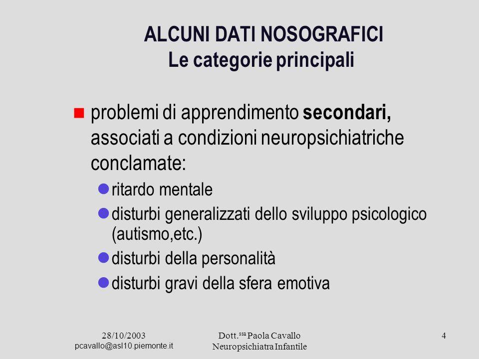 28/10/2003 pcavallo@asl10.piemonte.it Dott. ssa Paola Cavallo Neuropsichiatra Infantile 4 ALCUNI DATl NOSOGRAFICI Le categorie principali problemi di