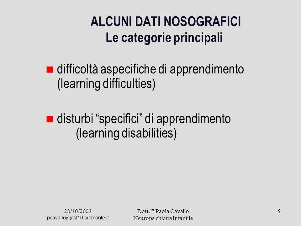28/10/2003 pcavallo@asl10.piemonte.it Dott. ssa Paola Cavallo Neuropsichiatra Infantile 5 ALCUNI DATl NOSOGRAFICI Le categorie principali difficoltà a