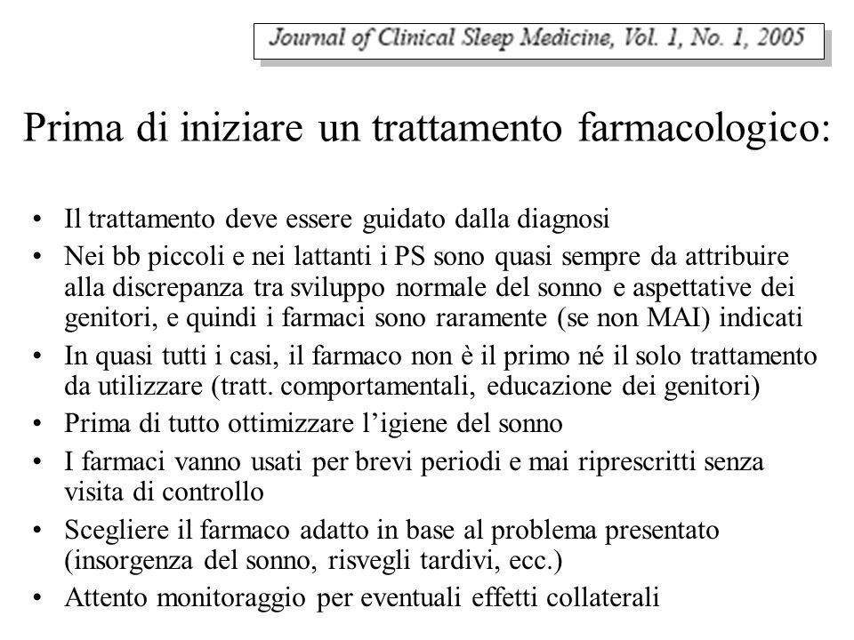 Prima di iniziare un trattamento farmacologico: Il trattamento deve essere guidato dalla diagnosi Nei bb piccoli e nei lattanti i PS sono quasi sempre