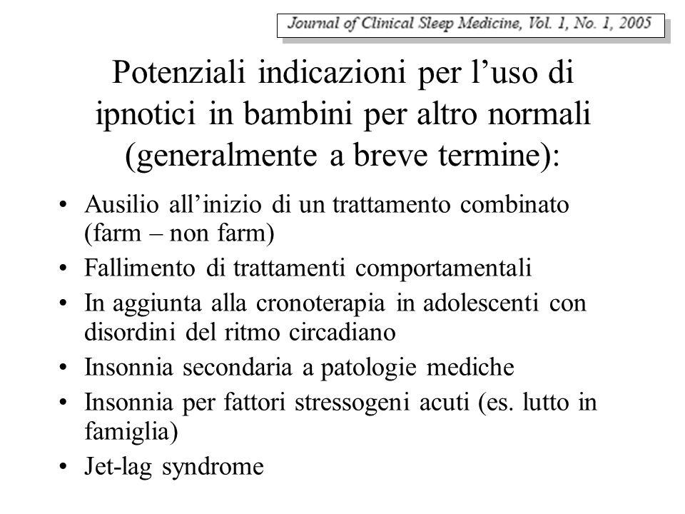 Potenziali indicazioni per luso di ipnotici in bambini per altro normali (generalmente a breve termine): Ausilio allinizio di un trattamento combinato