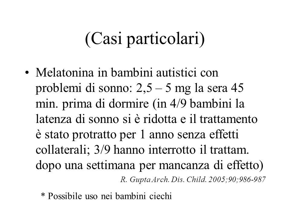 (Casi particolari) Melatonina in bambini autistici con problemi di sonno: 2,5 – 5 mg la sera 45 min. prima di dormire (in 4/9 bambini la latenza di so