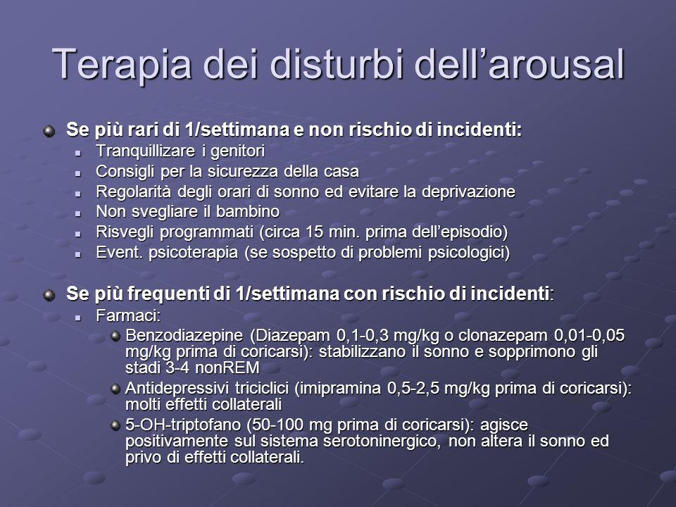 Terapia dei disturbi dellarousal Se più rari di 1/settimana e non rischio di incidenti: Tranquillizare i genitori Tranquillizare i genitori Consigli p