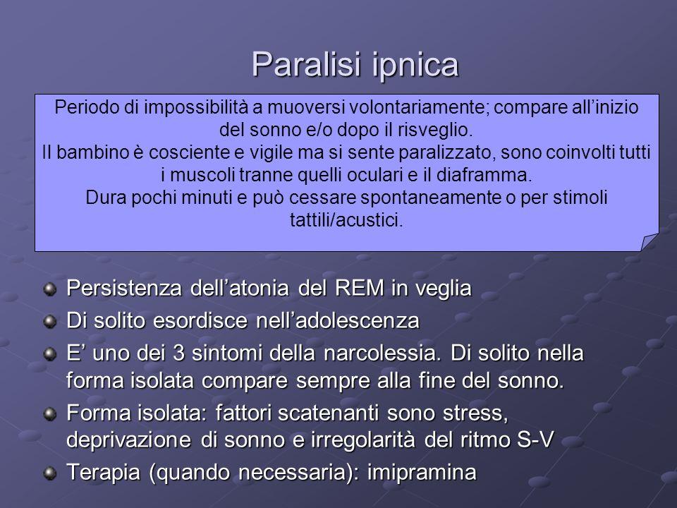 Paralisi ipnica Persistenza dellatonia del REM in veglia Di solito esordisce nelladolescenza E uno dei 3 sintomi della narcolessia. Di solito nella fo