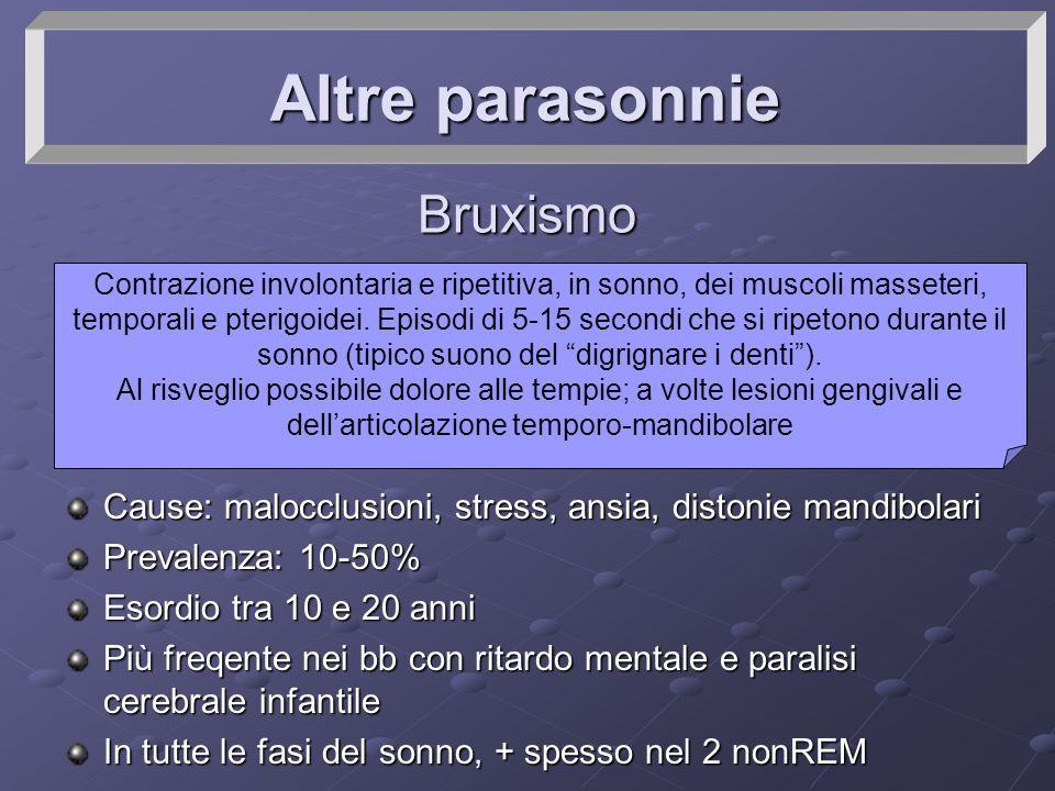 Altre parasonnie Bruxismo Cause: malocclusioni, stress, ansia, distonie mandibolari Prevalenza: 10-50% Esordio tra 10 e 20 anni Più freqente nei bb co