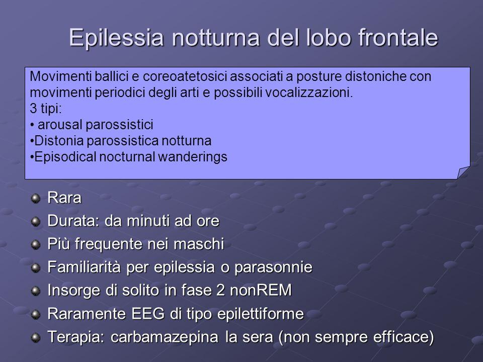 Epilessia notturna del lobo frontale Rara Durata: da minuti ad ore Più frequente nei maschi Familiarità per epilessia o parasonnie Insorge di solito i