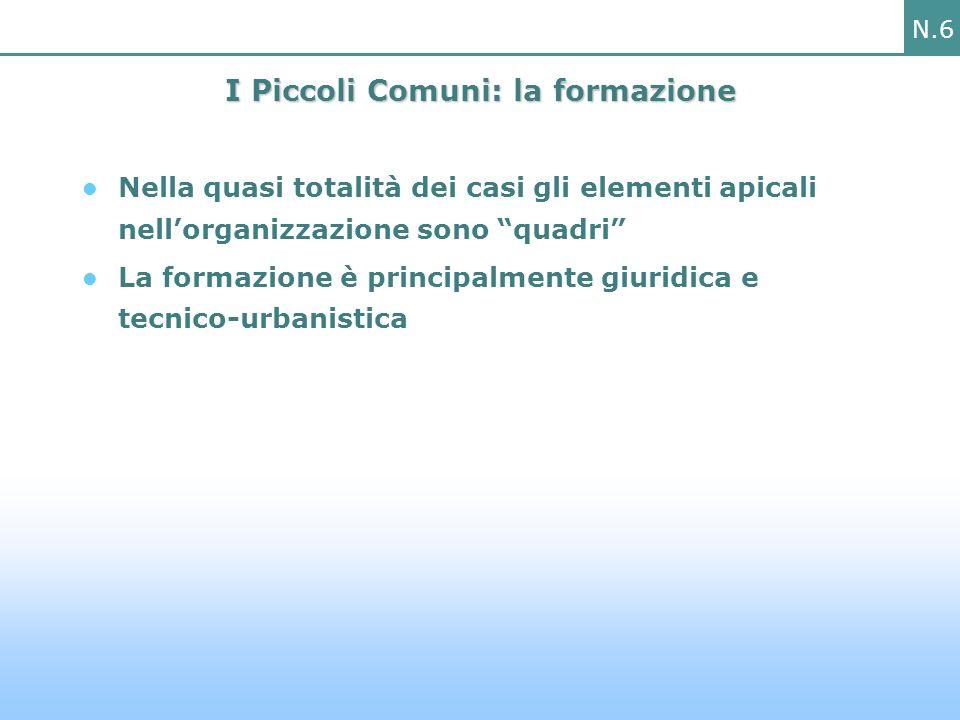 N.6 I Piccoli Comuni: la formazione Nella quasi totalità dei casi gli elementi apicali nellorganizzazione sono quadri La formazione è principalmente giuridica e tecnico-urbanistica