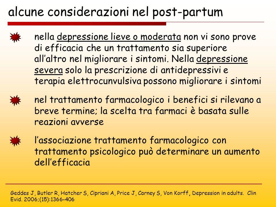 alcune considerazioni nel post-partum Geddes J, Butler R, Hatcher S, Cipriani A, Price J, Carney S, Von Korff, Depression in adults. Clin Evid. 2006;(