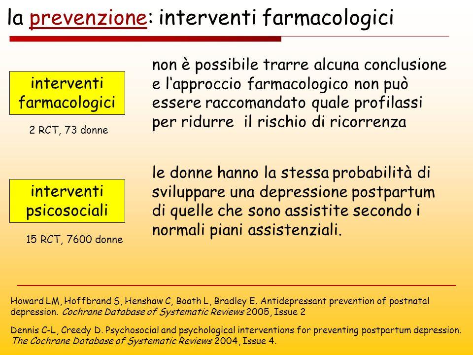 la prevenzione: interventi farmacologici Howard LM, Hoffbrand S, Henshaw C, Boath L, Bradley E. Antidepressant prevention of postnatal depression. Coc