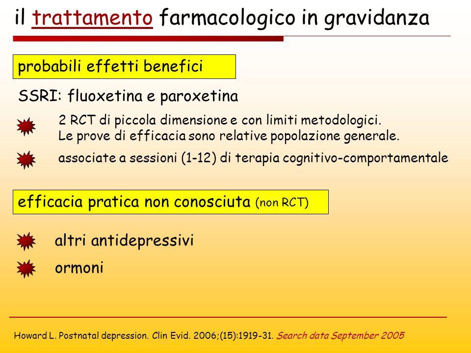 il trattamento farmacologico in gravidanza probabili effetti benefici SSRI: fluoxetina e paroxetina efficacia pratica non conosciuta (non RCT) altri antidepressivi ormoni 2 RCT di piccola dimensione e con limiti metodologici.