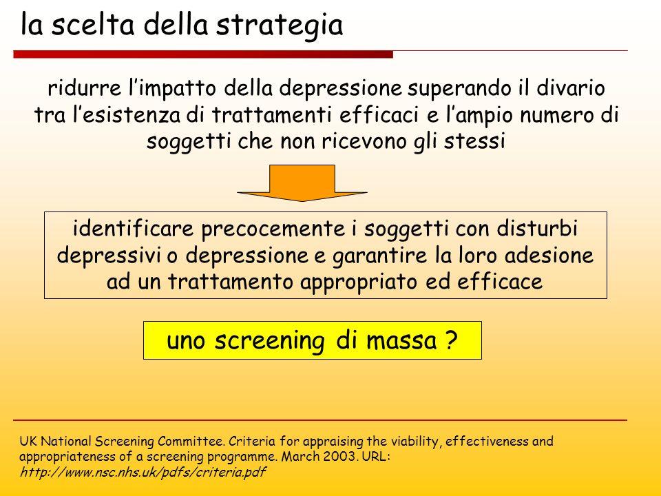 la scelta della strategia ridurre limpatto della depressione superando il divario tra lesistenza di trattamenti efficaci e lampio numero di soggetti c