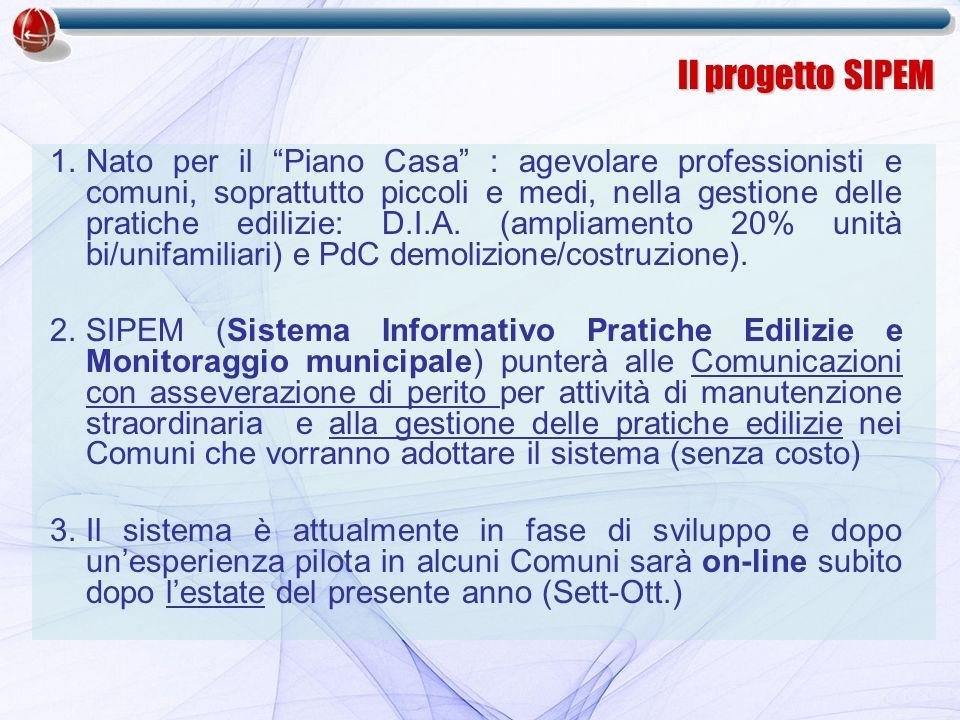 1.Nato per il Piano Casa : agevolare professionisti e comuni, soprattutto piccoli e medi, nella gestione delle pratiche edilizie: D.I.A.