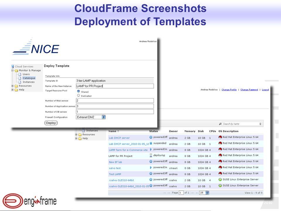 Copyright NICE srl, 2010 CloudFrame Screenshots Deployment of Templates