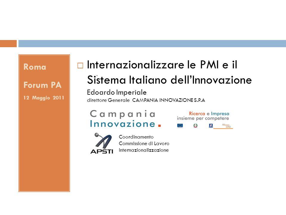 . Roma Forum PA 12 Maggio 2011 Internazionalizzare le PMI e il Sistema Italiano dellInnovazione Edoardo Imperiale direttore Generale CAMPANIA INNOVAZI