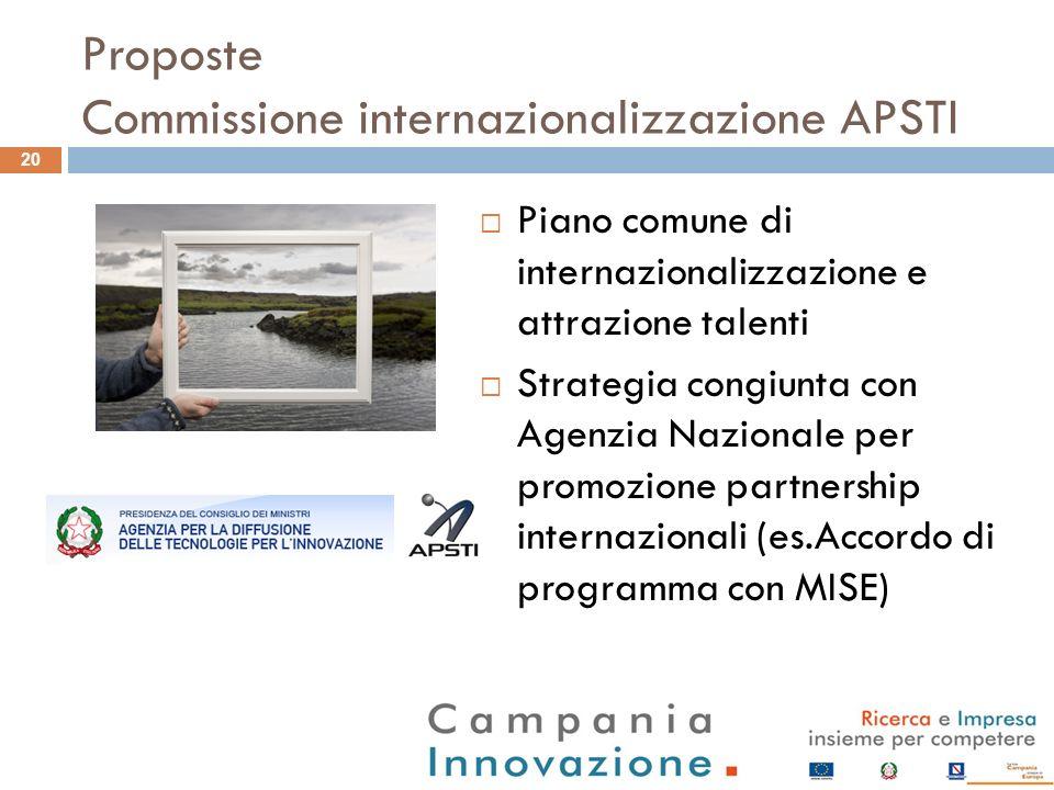 Proposte Commissione internazionalizzazione APSTI Piano comune di internazionalizzazione e attrazione talenti Strategia congiunta con Agenzia Nazional