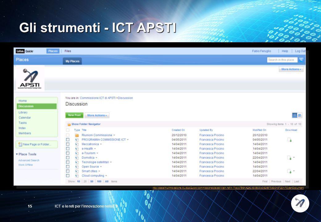 ICT e le reti per linnovazione nella PA15 http://place.friulinnovazione.it/LotusQuickr/commissioneictapsti/Main.nsf/h_Toc/47B91A2AC603E034052567080016