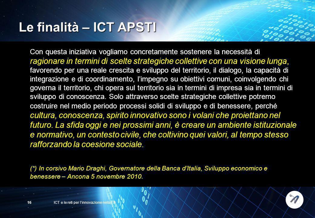 ICT e le reti per linnovazione nella PA16 Con questa iniziativa vogliamo concretamente sostenere la necessità di ragionare in termini di scelte strate