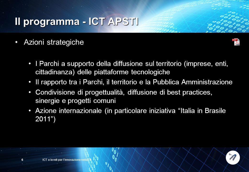 ICT e le reti per linnovazione nella PA6 Il programma - ICT APSTI Azioni strategiche I Parchi a supporto della diffusione sul territorio (imprese, ent