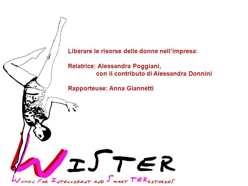 Liberare le risorse delle donne nellimpresa: Relatrice: Alessandra Poggiani, con il contributo di Alessandra Donnini Rapporteuse: Anna Giannetti
