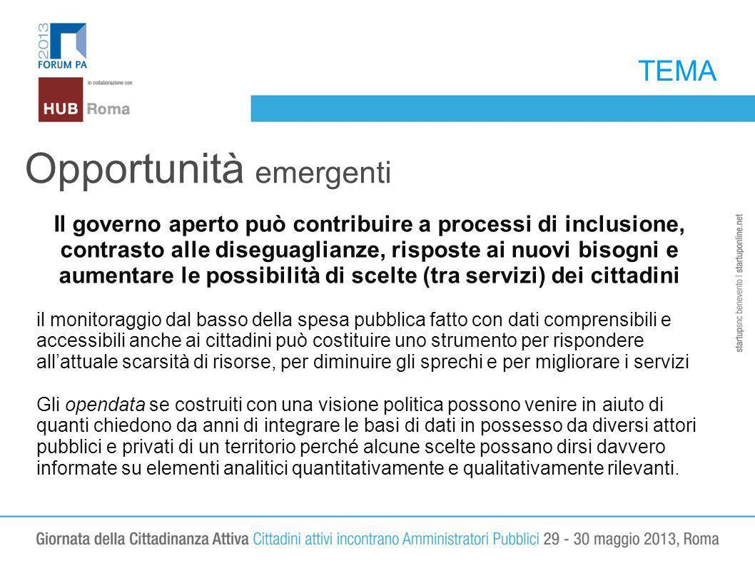 TEMA Opportunità emergenti Il governo aperto può contribuire a processi di inclusione, contrasto alle diseguaglianze, risposte ai nuovi bisogni e aume