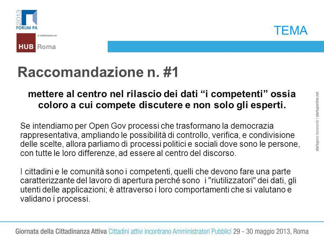 TEMA Raccomandazione n. #1 mettere al centro nel rilascio dei dati i competenti ossia coloro a cui compete discutere e non solo gli esperti. Se intend