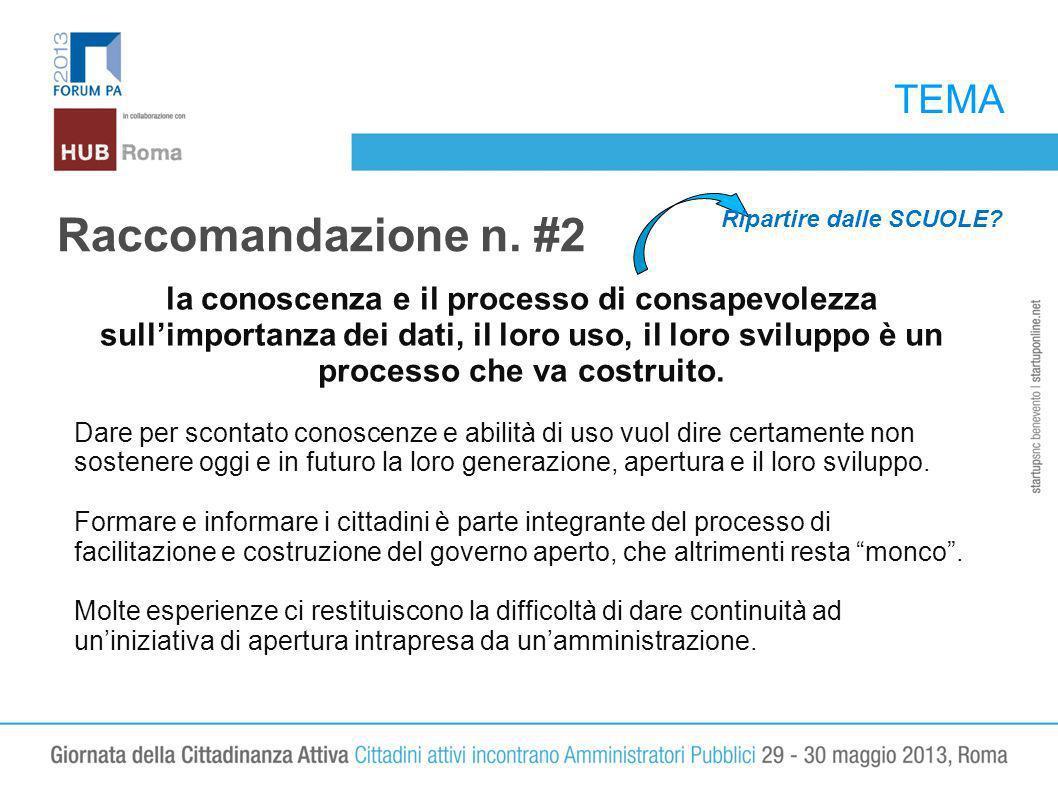 TEMA Raccomandazione n. #2 la conoscenza e il processo di consapevolezza sullimportanza dei dati, il loro uso, il loro sviluppo è un processo che va c