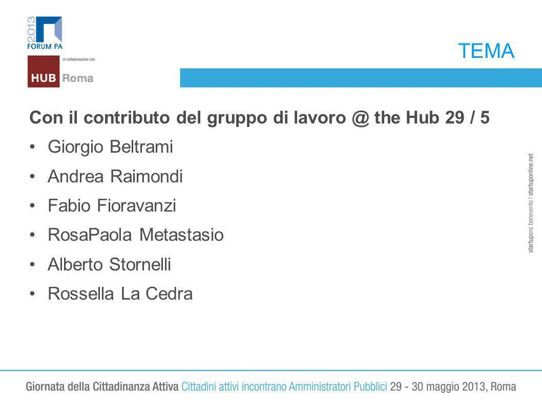 TEMA Con il contributo del gruppo di lavoro @ the Hub 29 / 5 Giorgio Beltrami Andrea Raimondi Fabio Fioravanzi RosaPaola Metastasio Alberto Stornelli