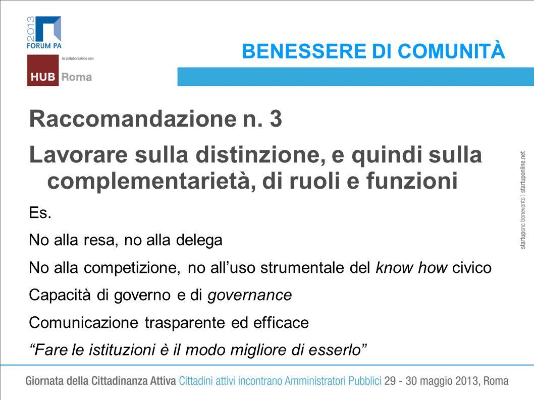 BENESSERE DI COMUNITÀ Raccomandazione n. 3 Lavorare sulla distinzione, e quindi sulla complementarietà, di ruoli e funzioni Es. No alla resa, no alla