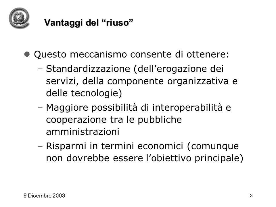 9 Dicembre 2003 3 Vantaggi del riuso Questo meccanismo consente di ottenere: –Standardizzazione (dellerogazione dei servizi, della componente organizz