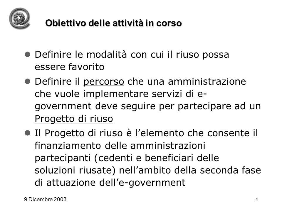 9 Dicembre 2003 4 Obiettivo delle attività in corso Definire le modalità con cui il riuso possa essere favorito Definire il percorso che una amministr