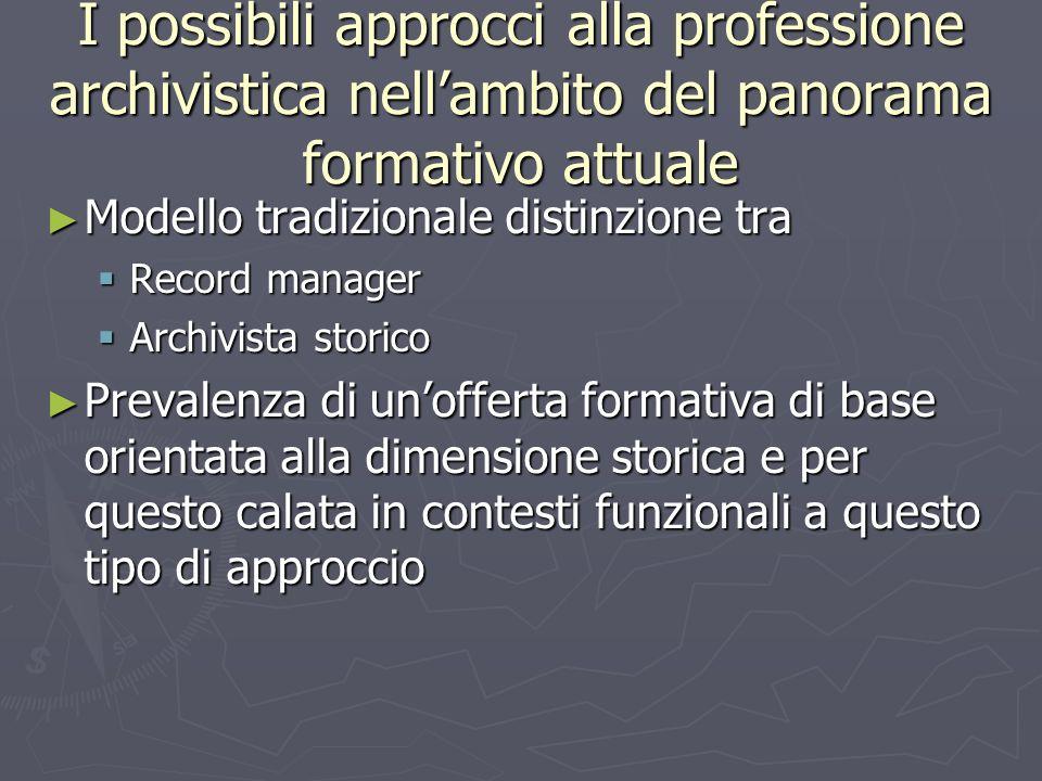 I possibili approcci alla professione archivistica nellambito del panorama formativo attuale Modello tradizionale distinzione tra Modello tradizionale