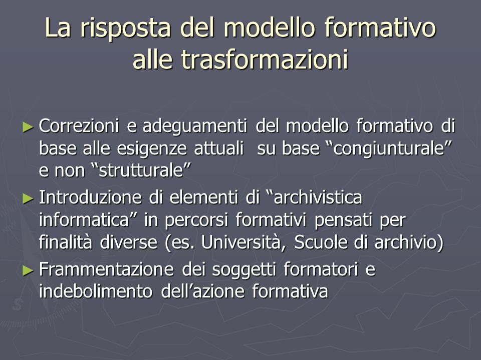La risposta del modello formativo alle trasformazioni Correzioni e adeguamenti del modello formativo di base alle esigenze attuali su base congiuntura