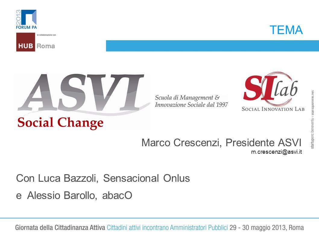 TEMA LOGO Marco Crescenzi, Presidente ASVI m.crescenzi@asvi.it Con Luca Bazzoli, Sensacional Onlus e Alessio Barollo, abacO