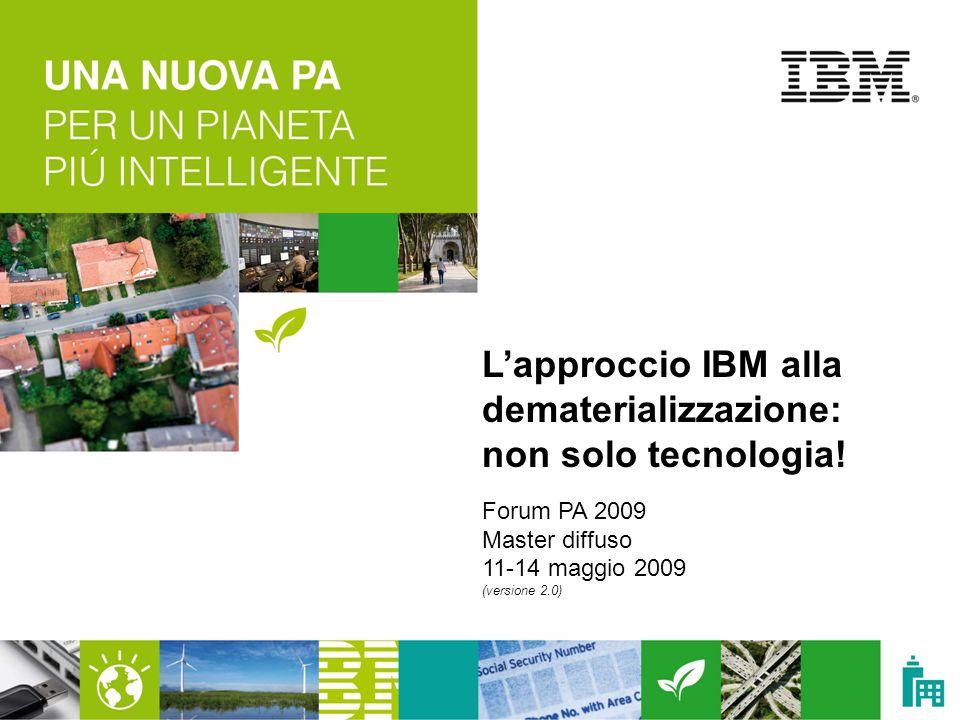 © 2009 IBM Corporation | IBM oggi nel mondo Headquarter: Armonk, NY 400 mila dipendenti Presente in 170 paesi Più del 65% dei ricavi generato al di fuori degli Stati Uniti 8 centri di ricerca e 24 laboratori di sviluppo Risultati finanziari nel 2008: - ricavi: 103,6 Mld US$ - utile netto: 12,3 Mld US$ Ripartizione dei ricavi 2008 Servizi Software Altro Hardware Financing
