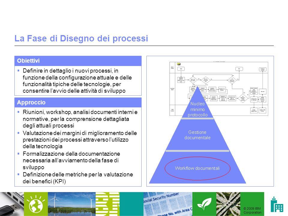 © 2009 IBM Corporation | La Fase di Disegno dei processi Definire in dettaglio i nuovi processi, in funzione della configurazione attuale e delle funz