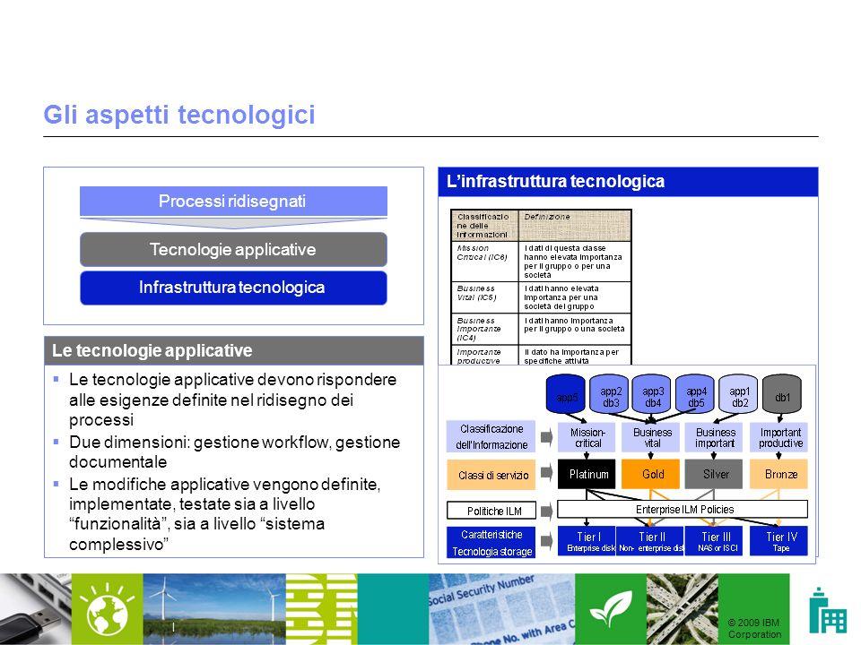 © 2009 IBM Corporation | Gli aspetti tecnologici Le tecnologie applicative devono rispondere alle esigenze definite nel ridisegno dei processi Due dim