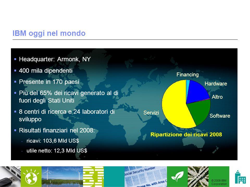 © 2009 IBM Corporation | IBM oggi nel mondo Headquarter: Armonk, NY 400 mila dipendenti Presente in 170 paesi Più del 65% dei ricavi generato al di fu