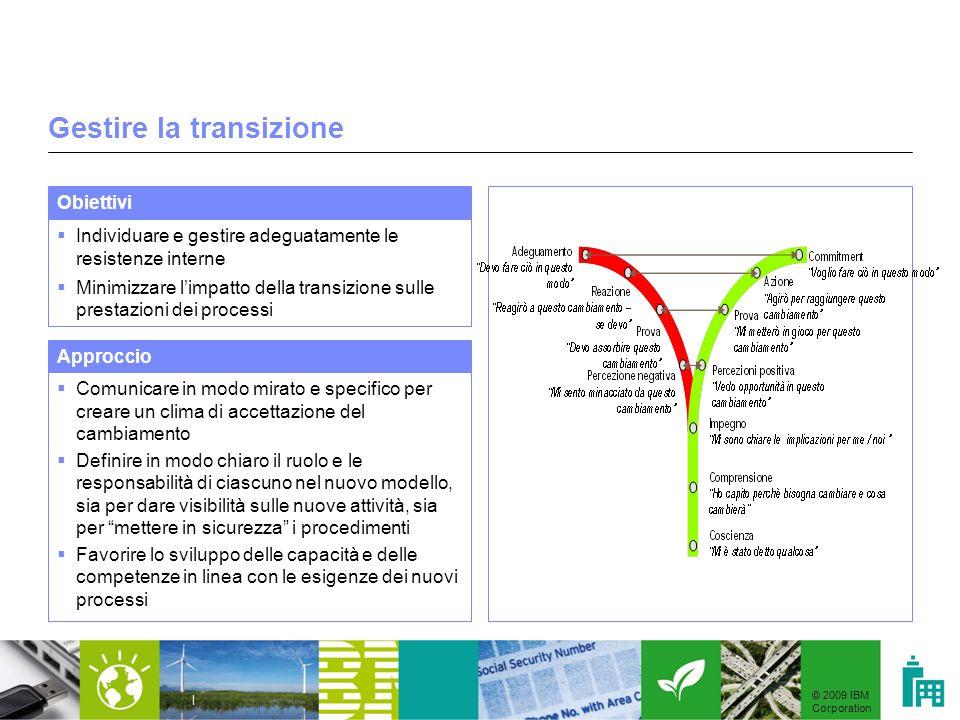 © 2009 IBM Corporation | Gestire la transizione Individuare e gestire adeguatamente le resistenze interne Minimizzare limpatto della transizione sulle