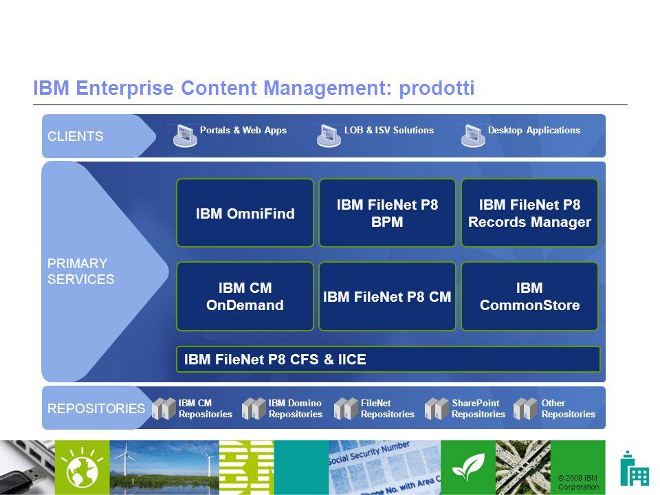 © 2009 IBM Corporation | IBM Enterprise Content Management: prodotti IBM FileNet P8 CFS & IICE IBM CM Repositories IBM Domino Repositories FileNet Rep