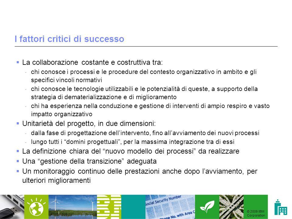 © 2009 IBM Corporation | I fattori critici di successo La collaborazione costante e costruttiva tra: - chi conosce i processi e le procedure del conte